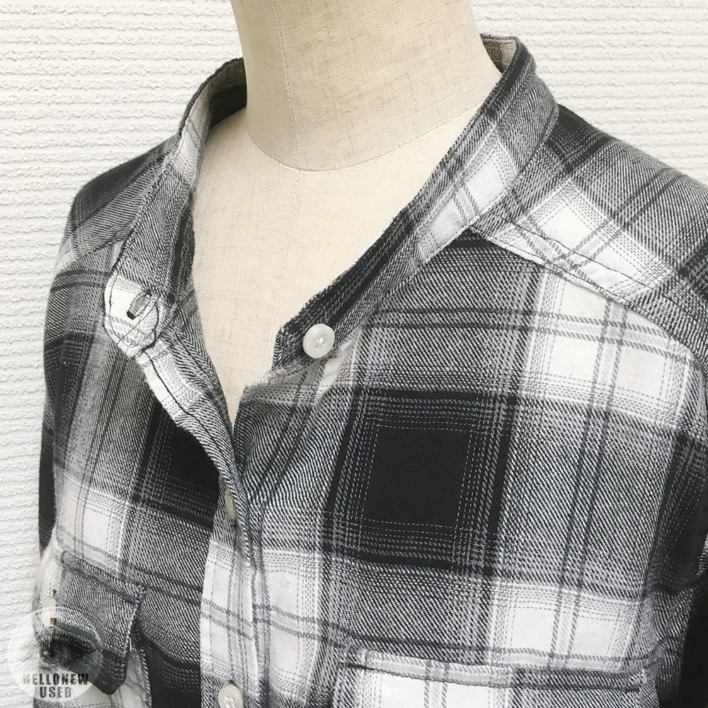 Band Collar Check Shirt
