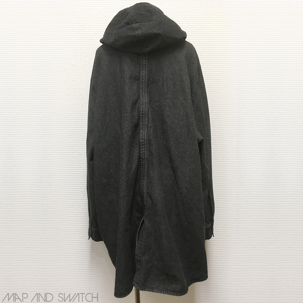 Black Denim Hooded Shirt