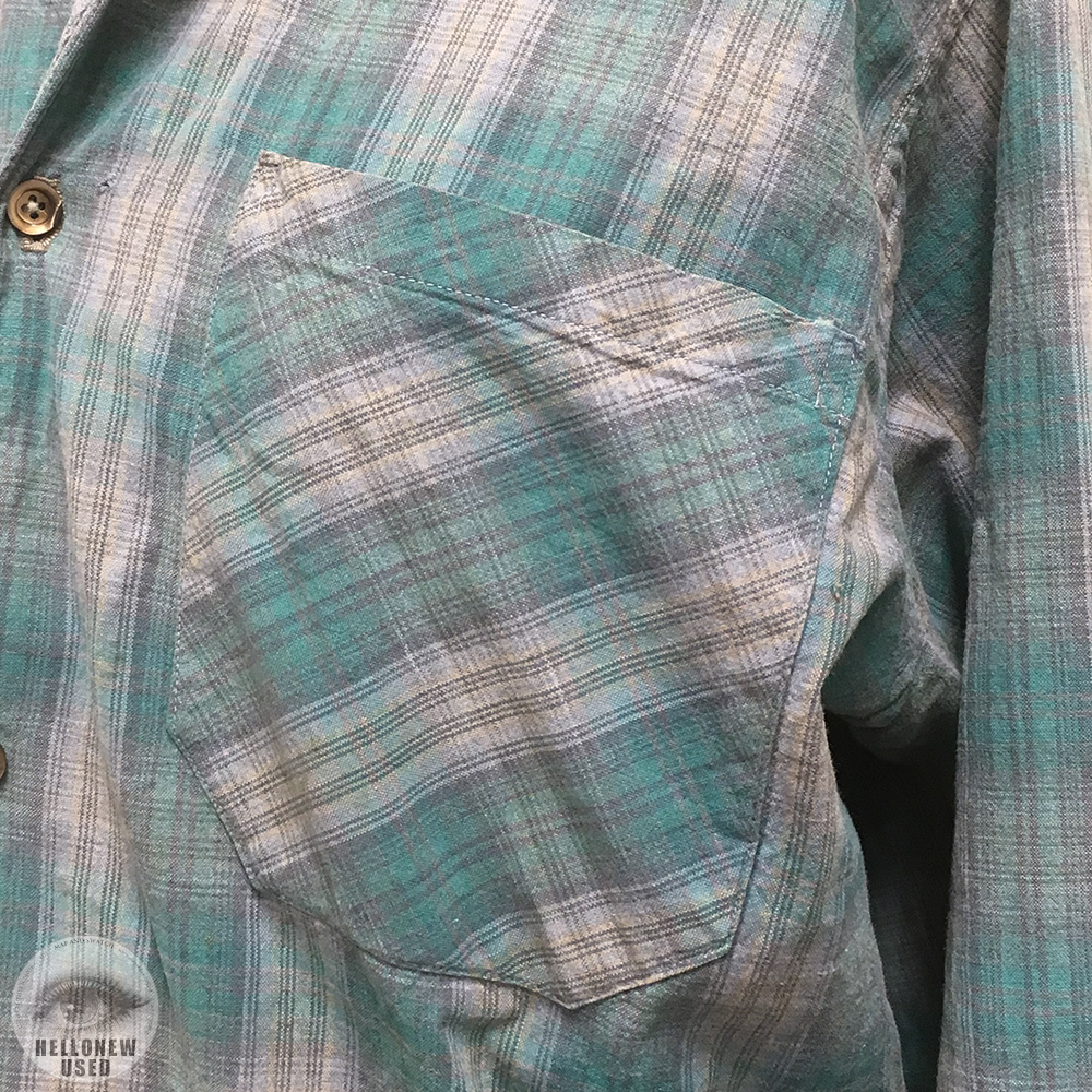 Faded Check Open Collar Shirt