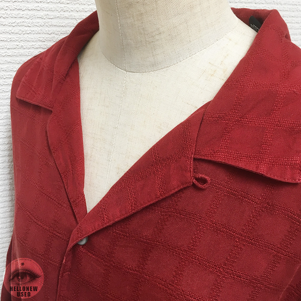 "Short Sleeve Silk Shirts ""Vermillion grid"""